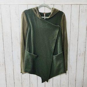 Free People Wrap Button Down Wrap Jacket Green